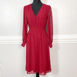 Express Red Fit and Flare Holiday Mid Length Dress